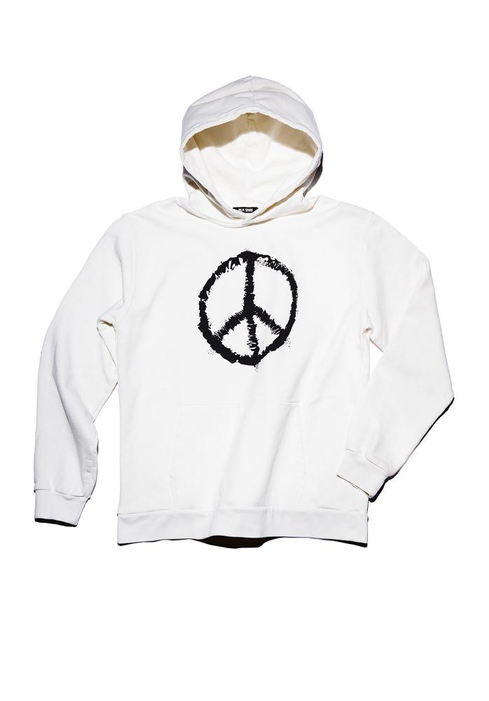 BLK DNM SWEATER 11 PEACE - WHITE BLACK PEACE PRINT
